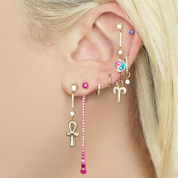 DIAMOND AND WHITE ENAMEL ANKH DROP EARRING