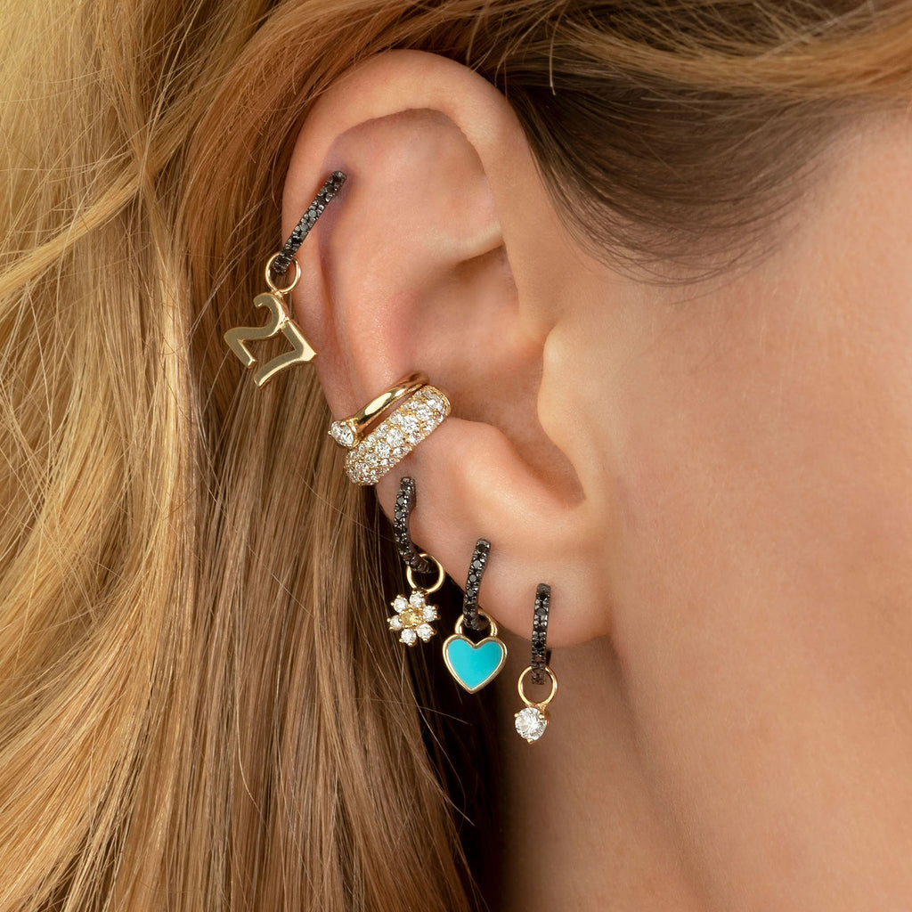 BLACK DIAMOND SMALL HUGGIE EARRING