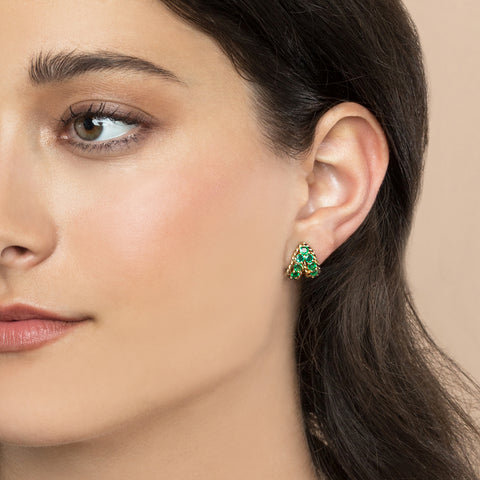 EMERALD TWIST HUGGIE EARRING