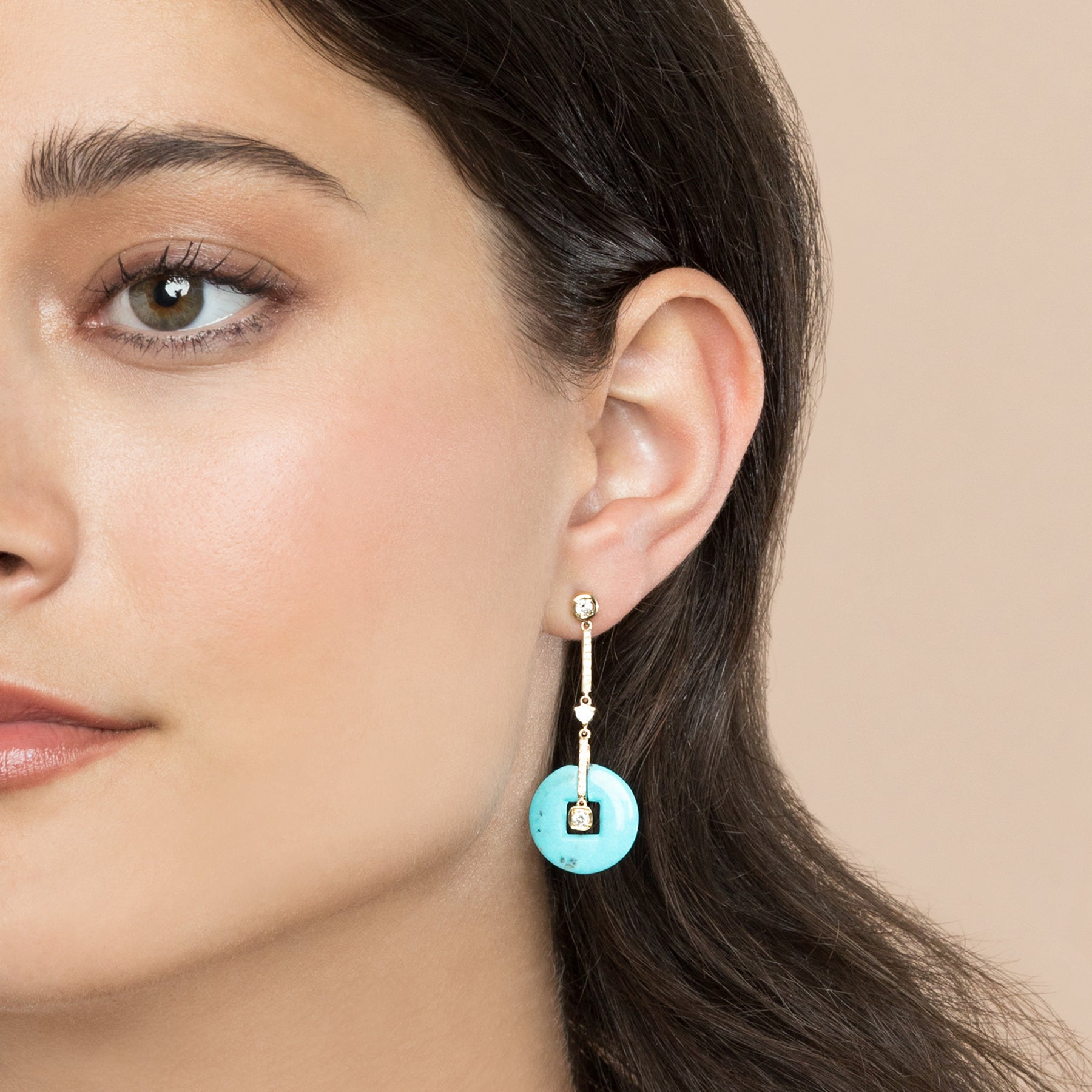 DIAMOND AND TURQUOISE DECO DROP EARRING