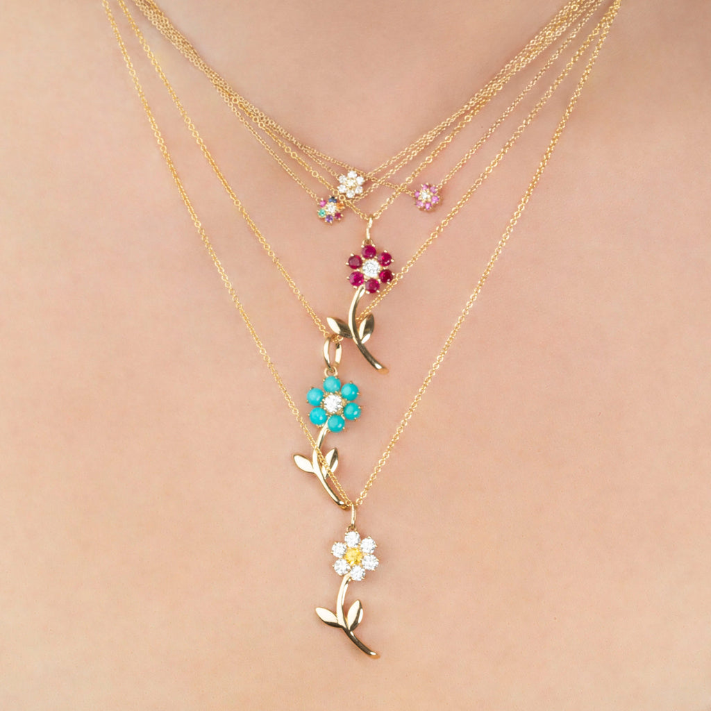 RUBY MINI FLOWER NECKLACE