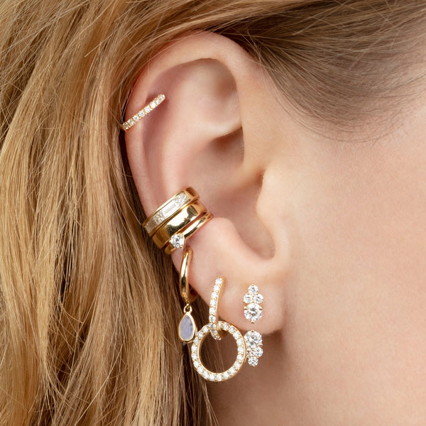 DIAMOND DOUBLE HOOP EARRING