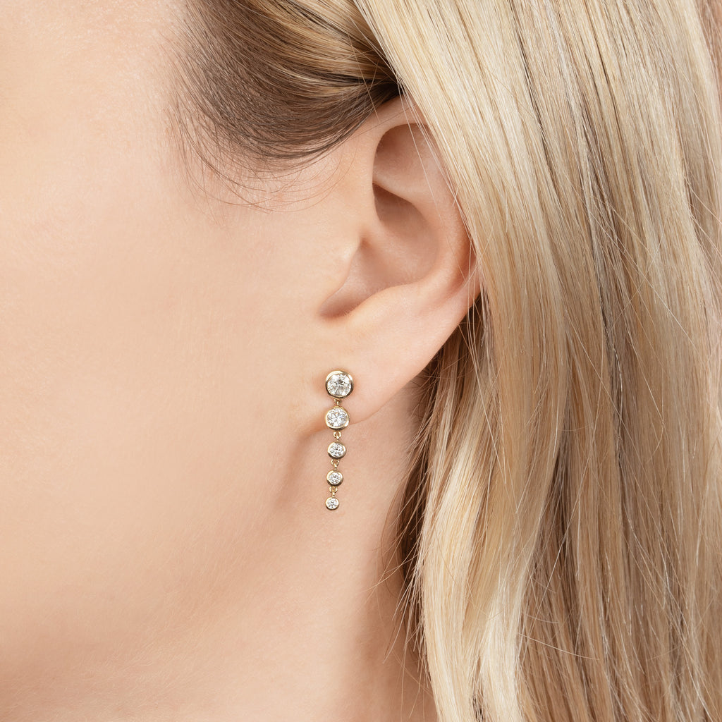 DIAMOND PETITE BEZEL GRADIENT DROP EARRING