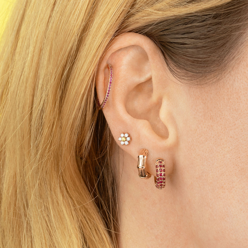 ROSE GOLD BAMBOO HOOP EARRING