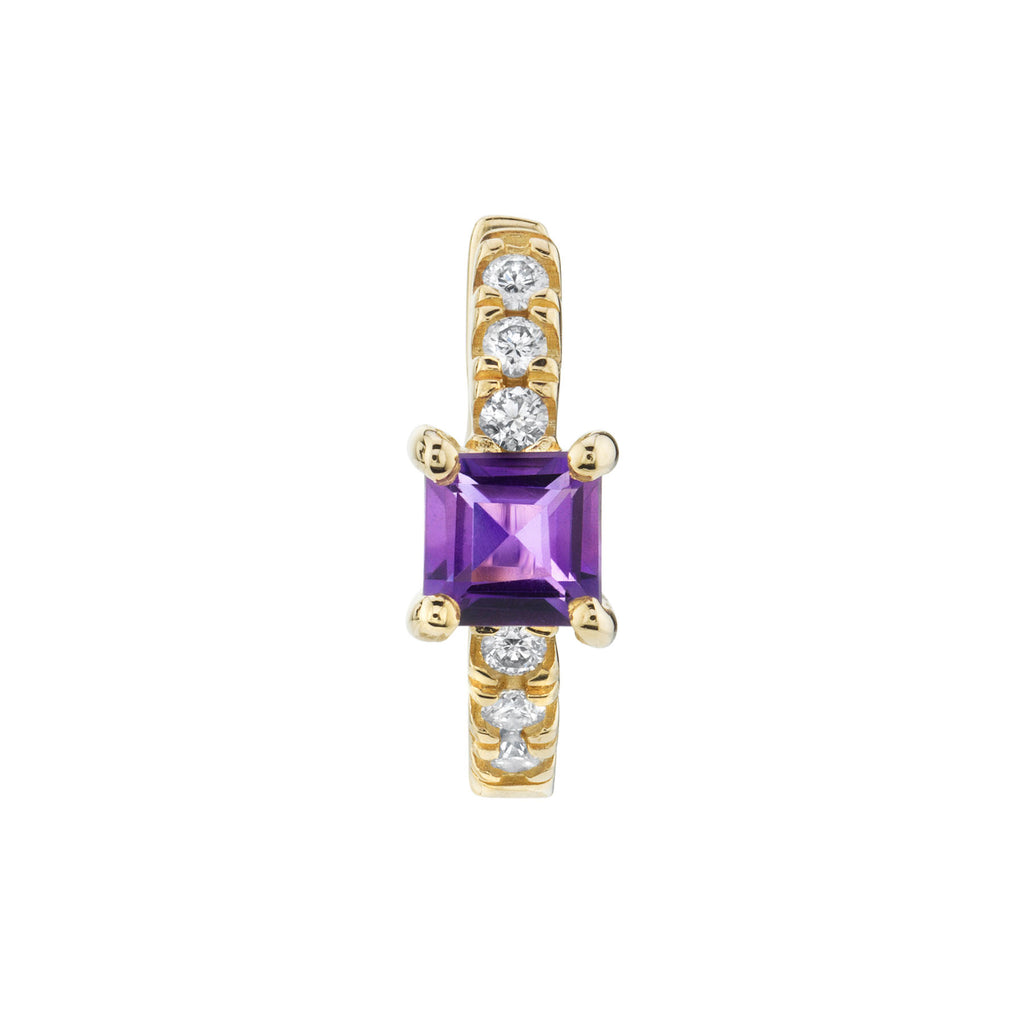 AMETHYST PRINCESS SOLITAIRE PAVÉ HUGGIE EARRING