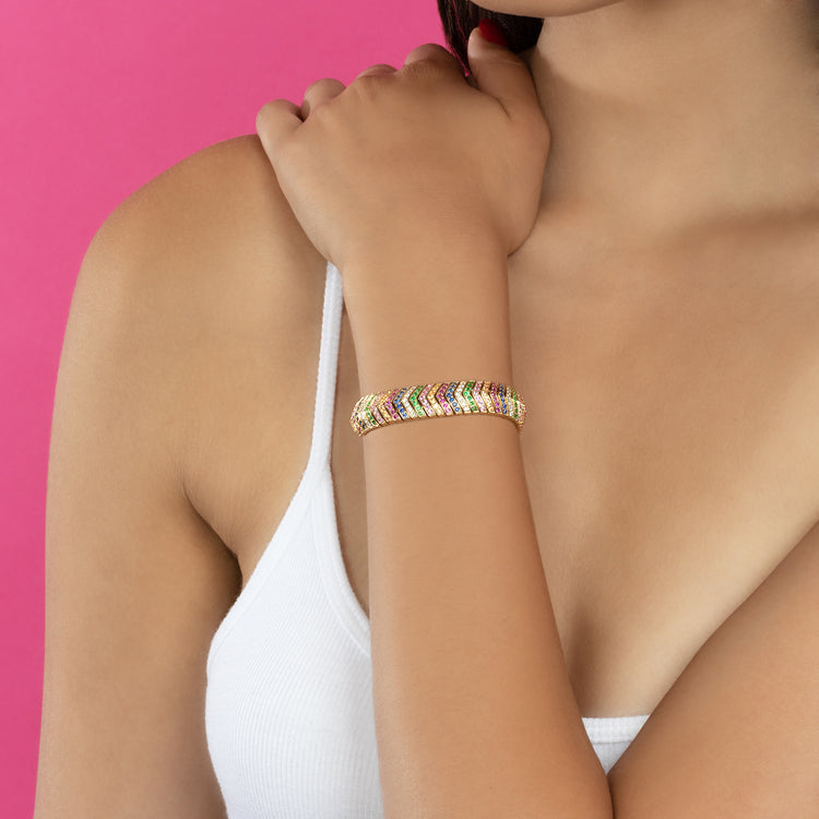DIAMOND AND RAINBOW WIDE SNAKE LINK BRACELET