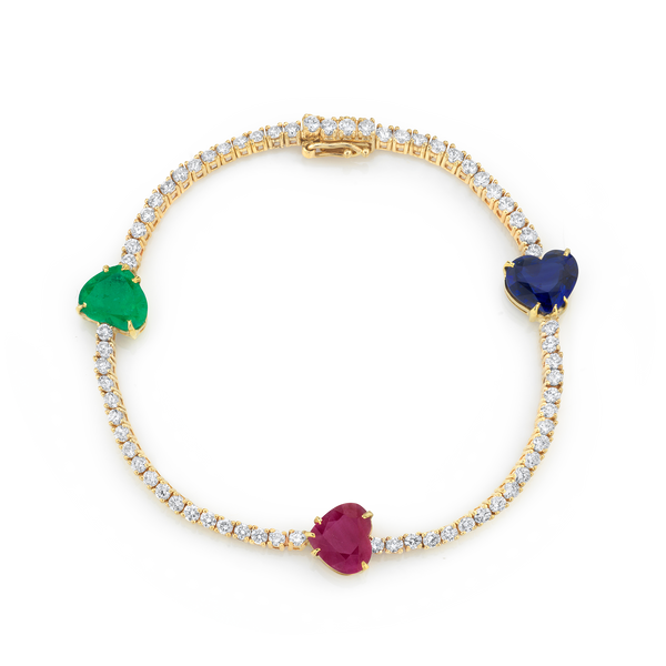 DIAMOND TRI-COLOR HEART TENNIS BRACELET