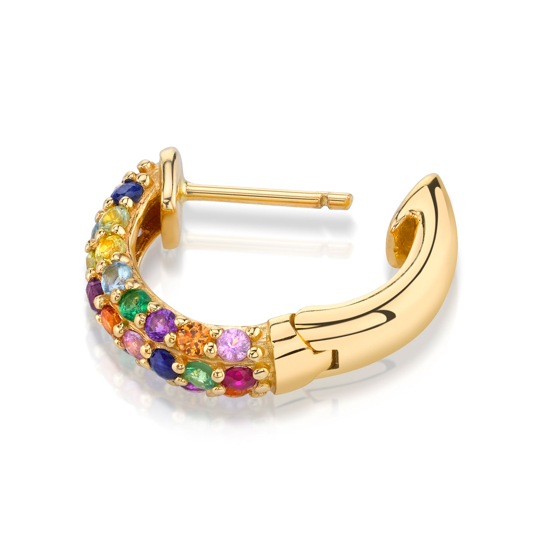 RAINBOW PAVE WIDE HOOP EARRING