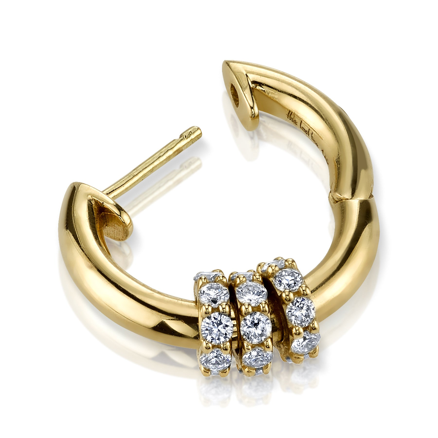 TRIPLE DIAMOND BAND HOOP EARRING