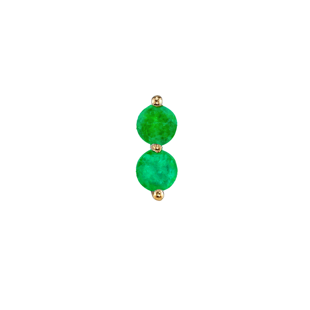 EMERALD DOUBLE PIERCING STUD EARRING