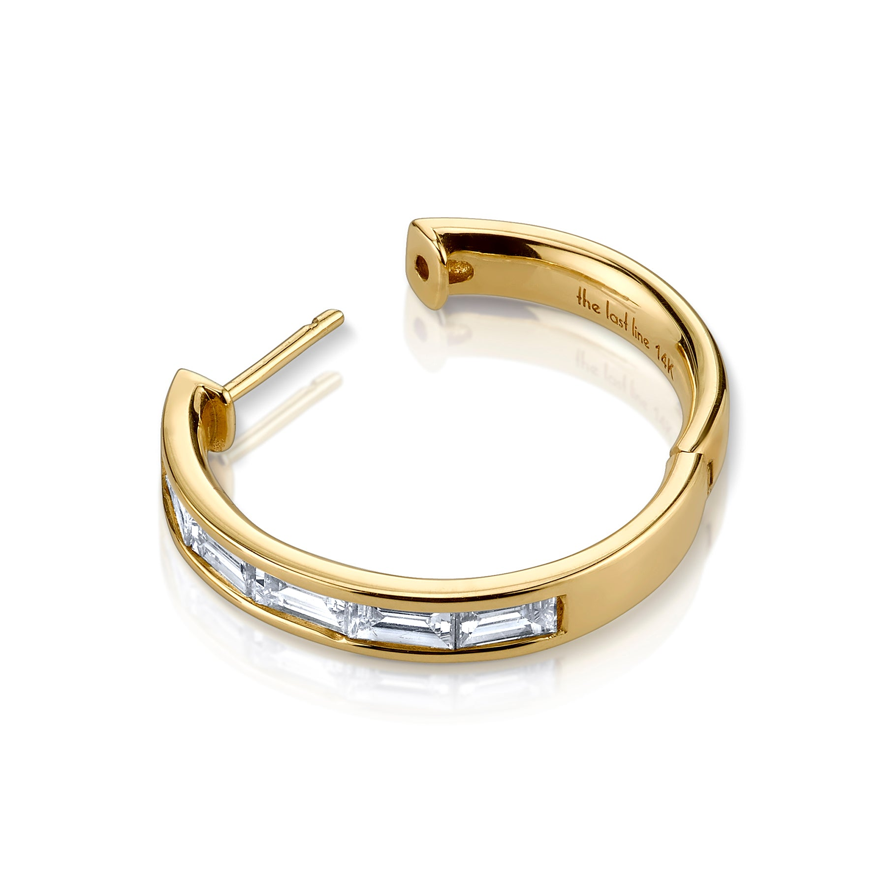 LARGE DIAMOND BAGUETTE HOOP EARRING