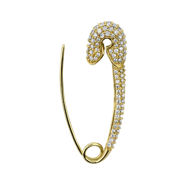 LARGE DIAMOND SAFETY PIN EARRING