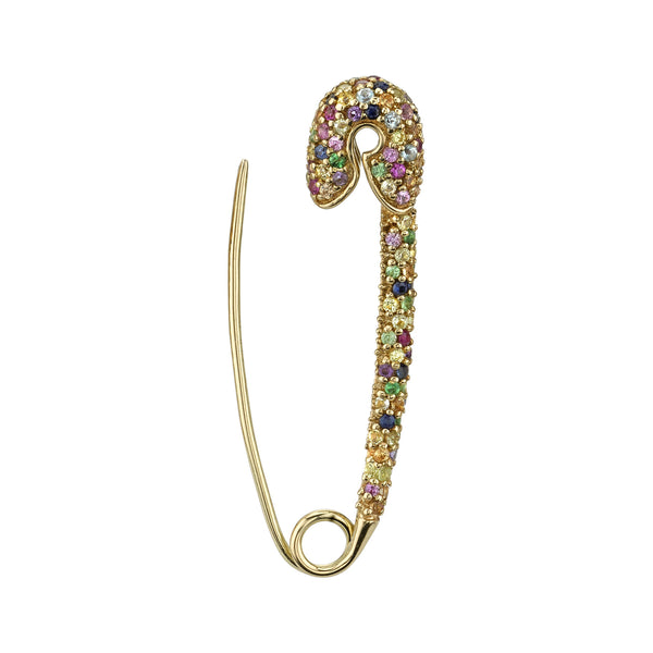 LARGE RAINBOW SAFETY PIN EARRING