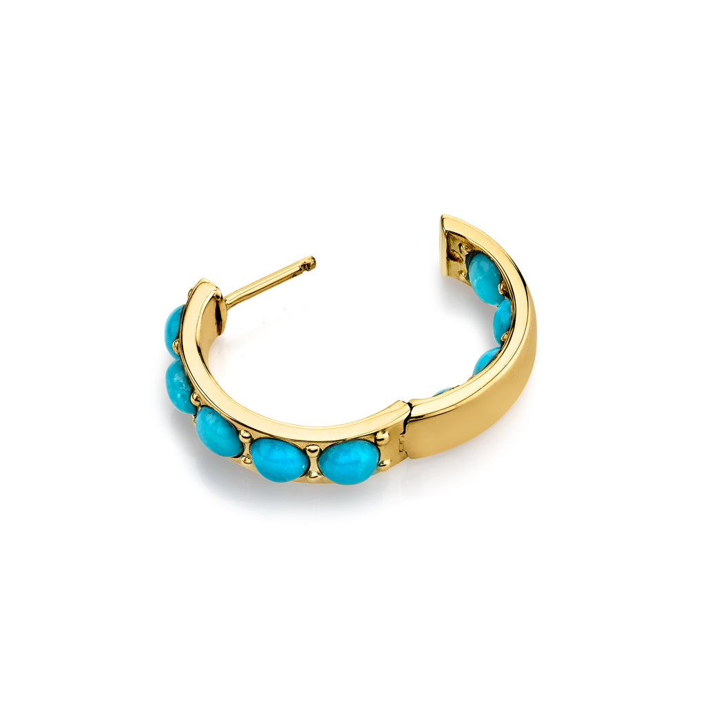 TURQUOISE INSIDE OUT HOOP EARRING