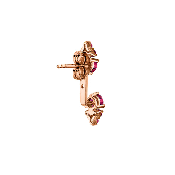 RUBY CLUSTER STUD AND EAR JACKET SET