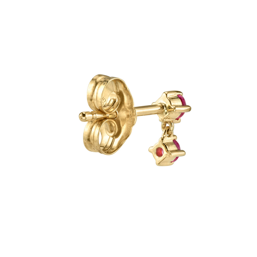 RUBY DOUBLE DROPLET STUD EARRING