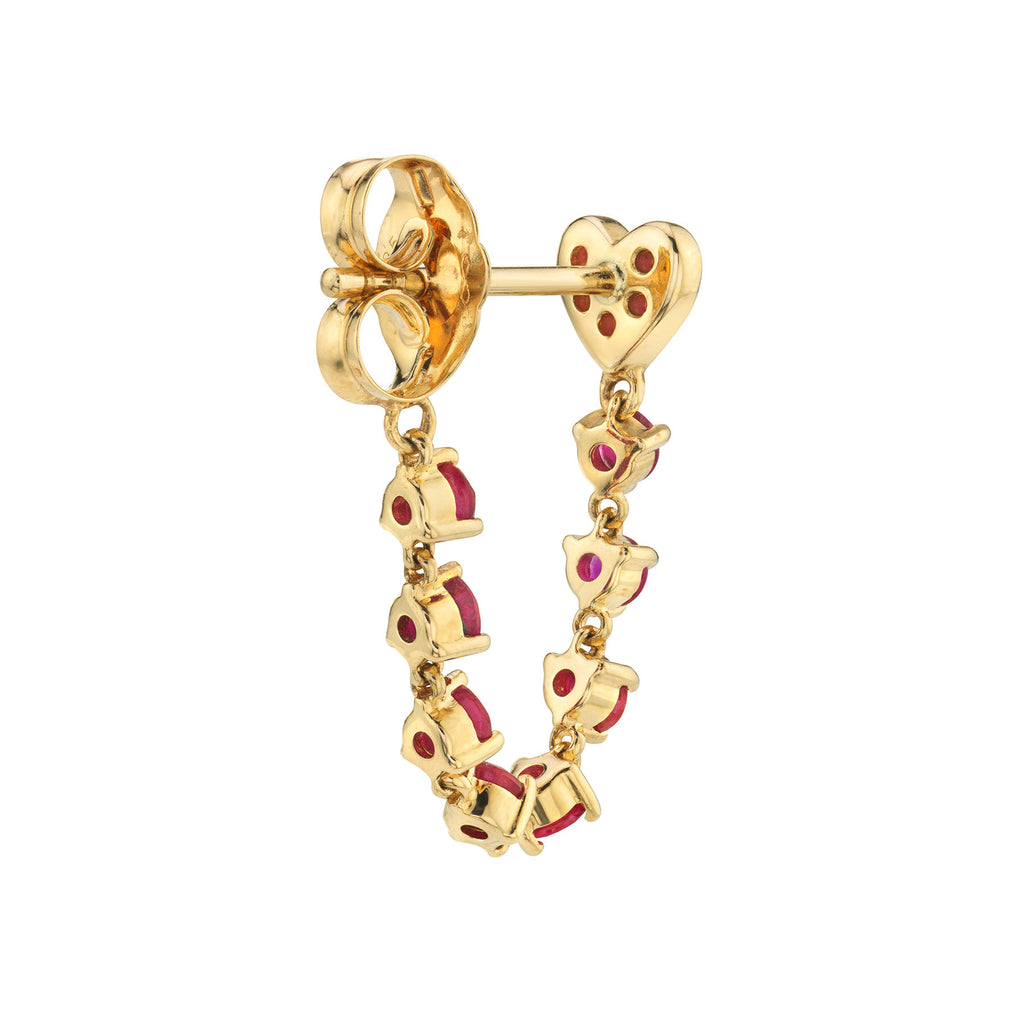 RUBY HEART AND CHAIN EARRING