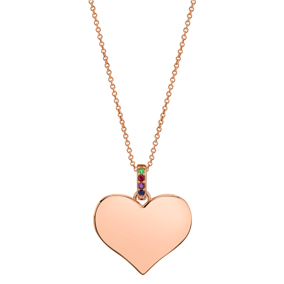 WIDE HEART PENDANT WITH RAINBOW BAIL