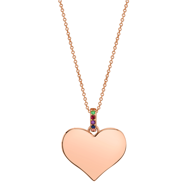 WIDE HEART PENDANT WITH RAINBOW BALE