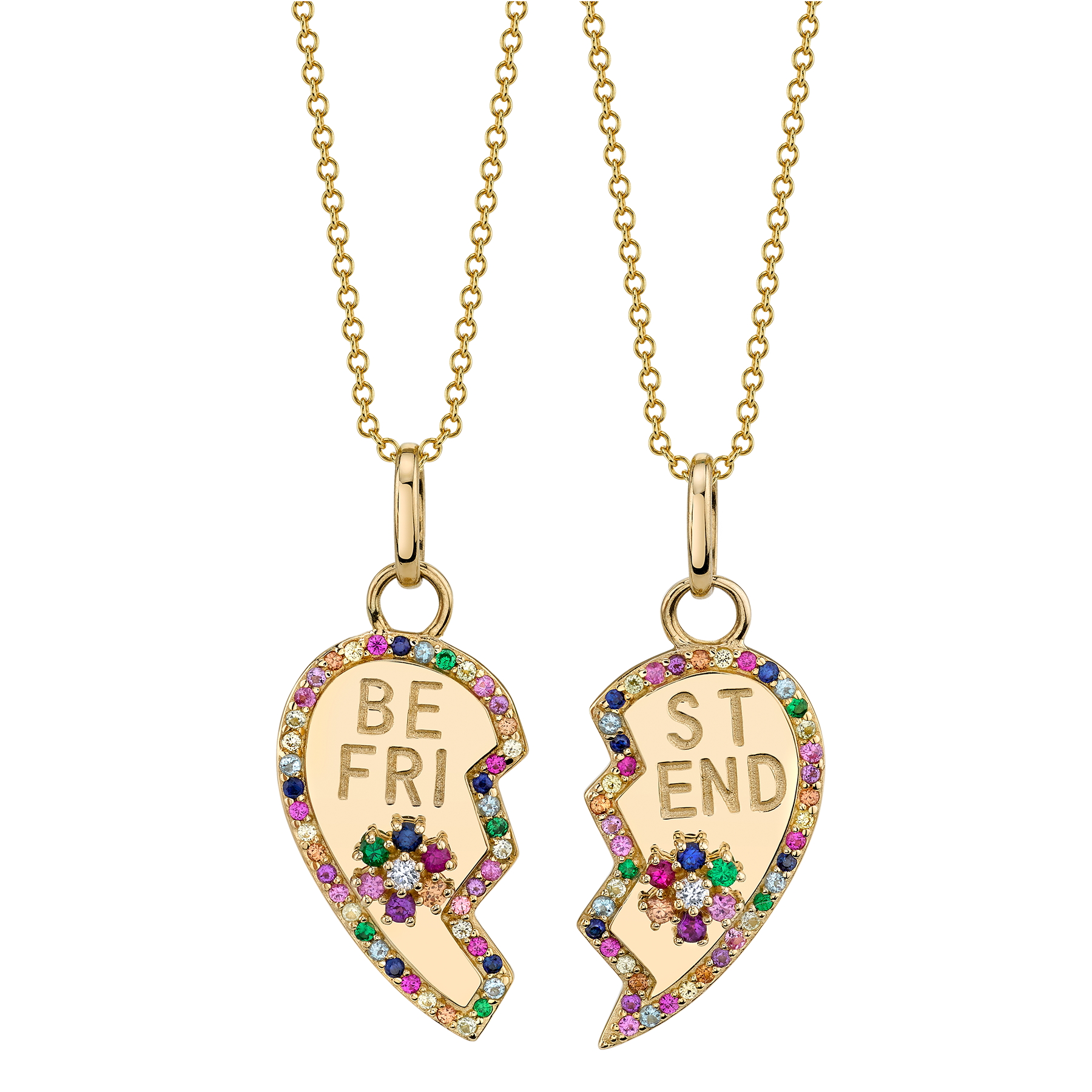 RAINBOW PAVE BFF HEART AND FLOWER PENDANT SET, 14K YELLOW GOLD, SAPPHIRES EMERALD RUBY DIAMOND