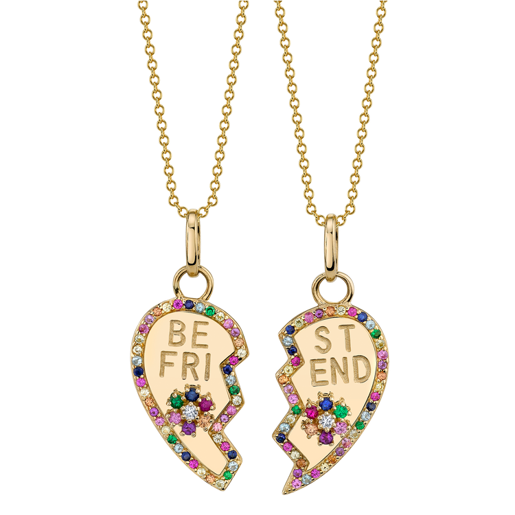 RAINBOW PAVE BFF HEART AND FLOWER PENDANT SET