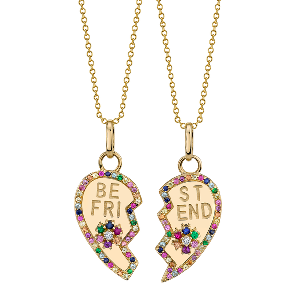 RAINBOW PAVÉ BFF HEART AND FLOWER PENDANT SET