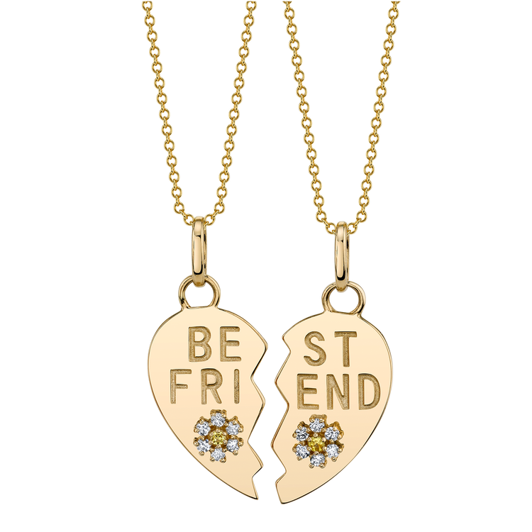 DIAMOND BEST FRIEND HEART AND FLOWER PENDANT SET