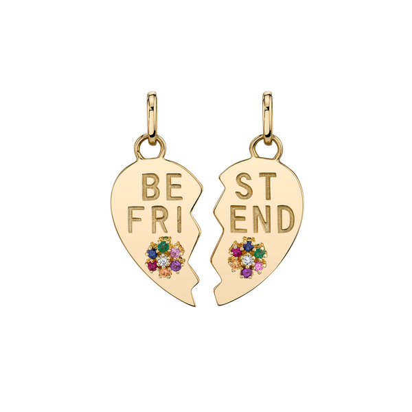 RAINBOW BEST FRIEND HEART AND FLOWER PENDANT SET