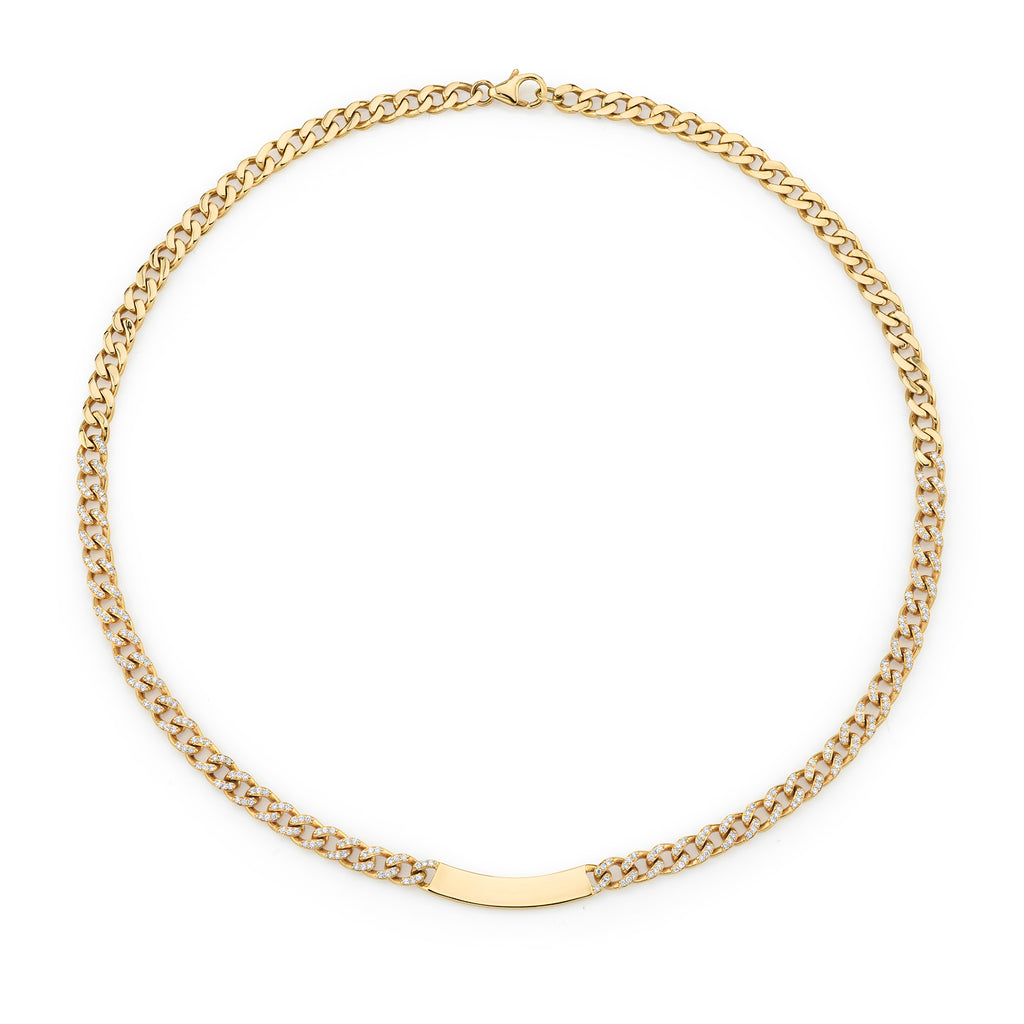 DIAMOND CURB LINK ID NECKLACE