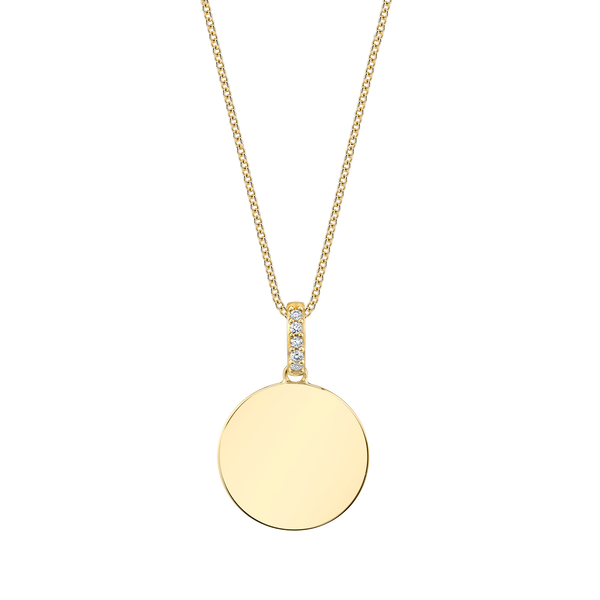 GOLD DISC PENDANT WITH DIAMOND BALE