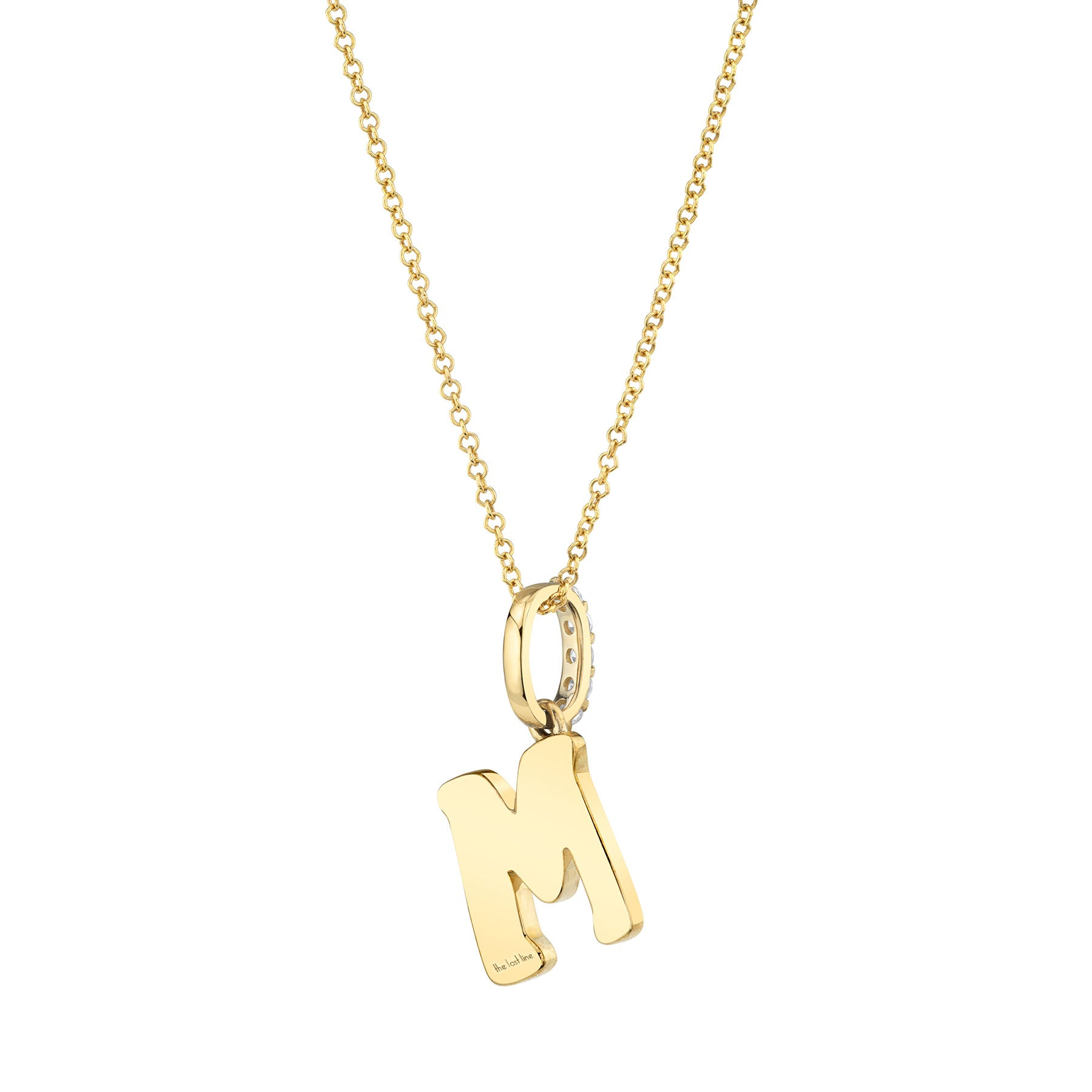 DIAMOND AND BLACK ENAMEL LETTER PENDANT