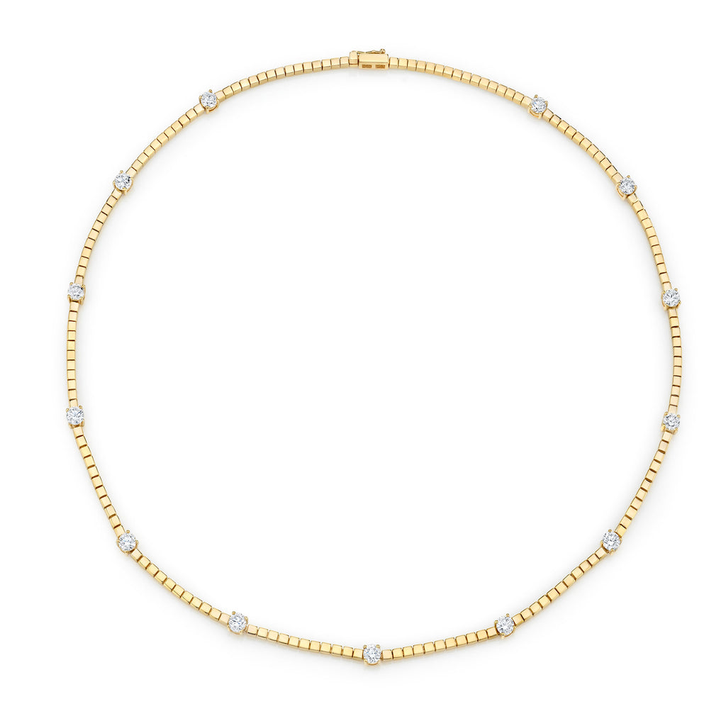 DIAMOND AND GOLD TENNIS LINK NECKLACE