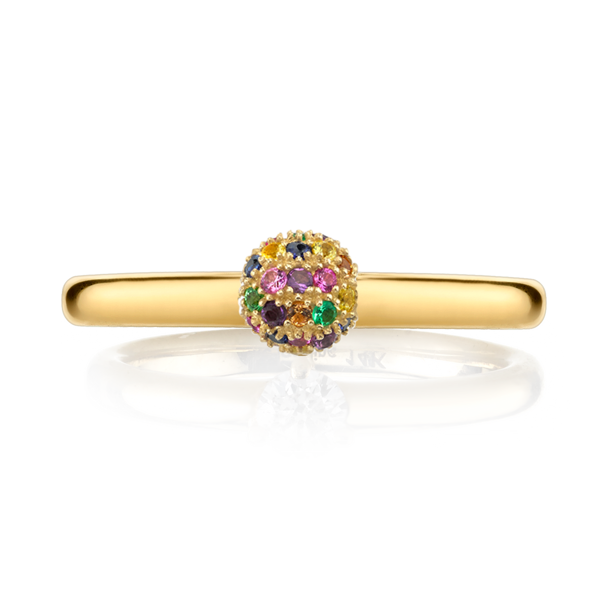 RAINBOW PAVE SPHERE RING