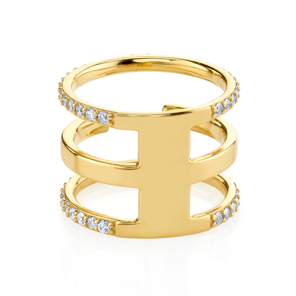 DIAMOND AND GOLD SPLIT BAND