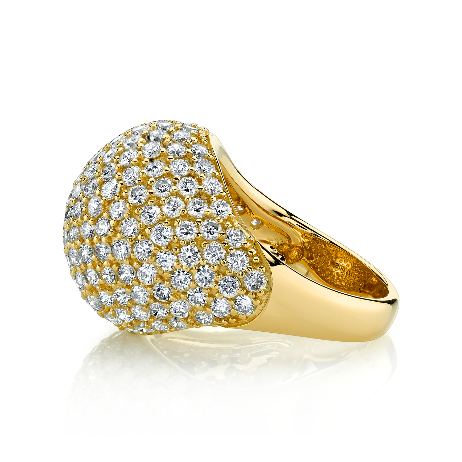DIAMOND BOMBE RING, 5, 14K YELLOW GOLD
