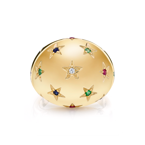 DIAMOND AND TRI COLOR STAR BOMBE RING