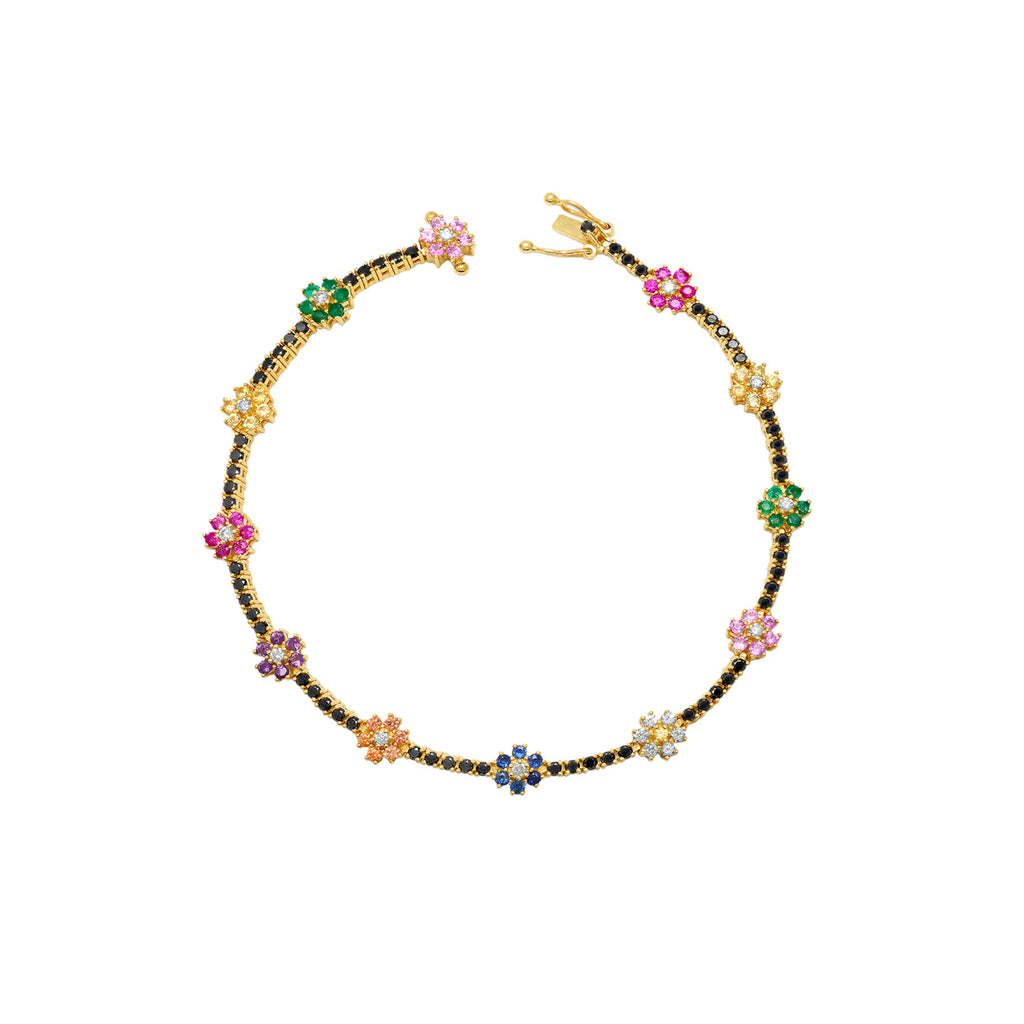 RAINBOW FLOWER BLACK DIAMOND TENNIS BRACELET