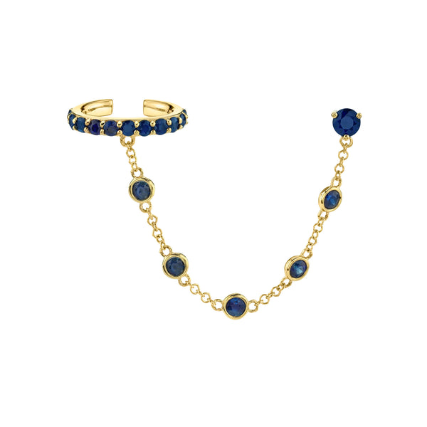 BLUE SAPPHIRE BEZEL CONNECTED CUFF EARRING