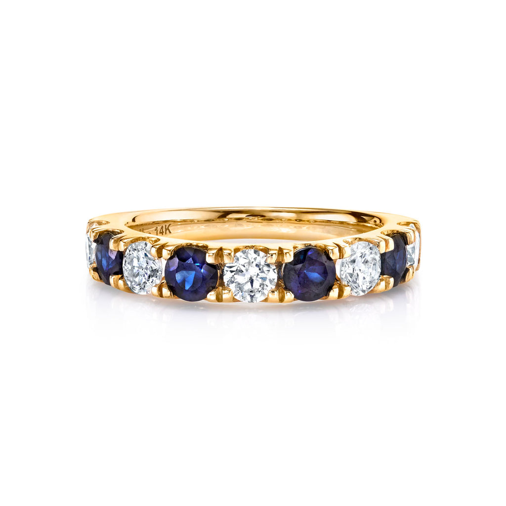 DIAMOND AND BLUE SAPPHIRE CLASSIC BAND