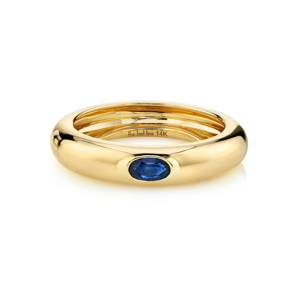 BLUE SAPPHIRE OVAL SOLITAIRE WIDE BAND