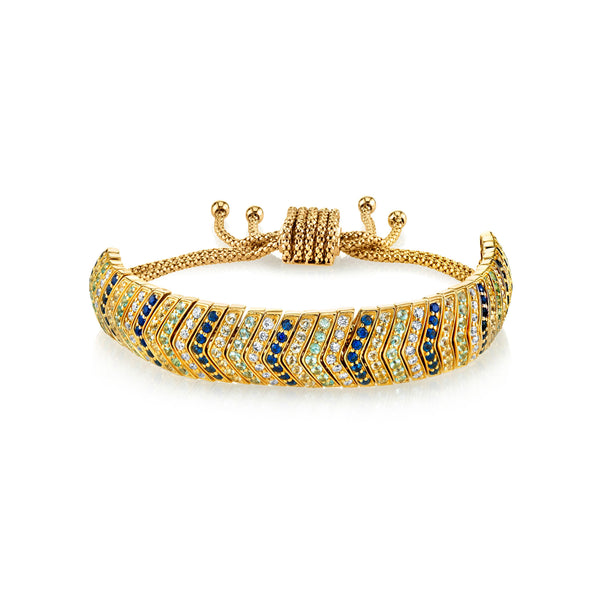 DIAMOND AND BLUE SAPPHIRE WIDE SNAKE LINK BRACELET