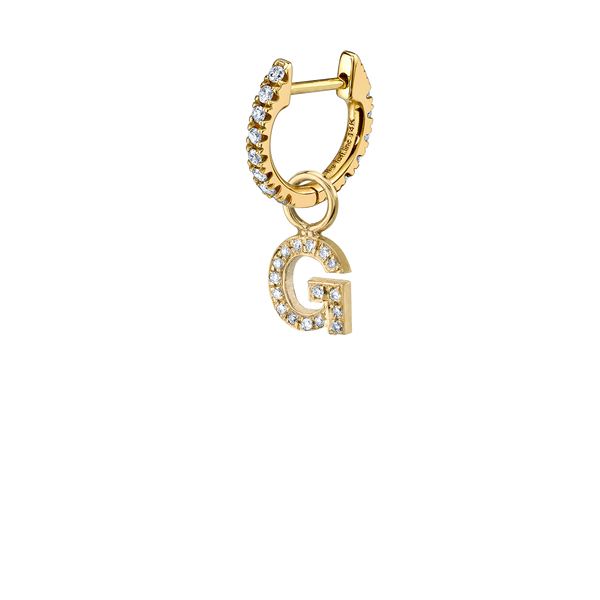DIAMOND LETTER HOOP EARRING CHARM