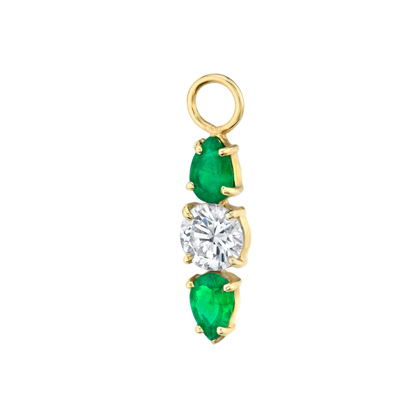DIAMOND AND EMERALD DARLING HOOP CHARM