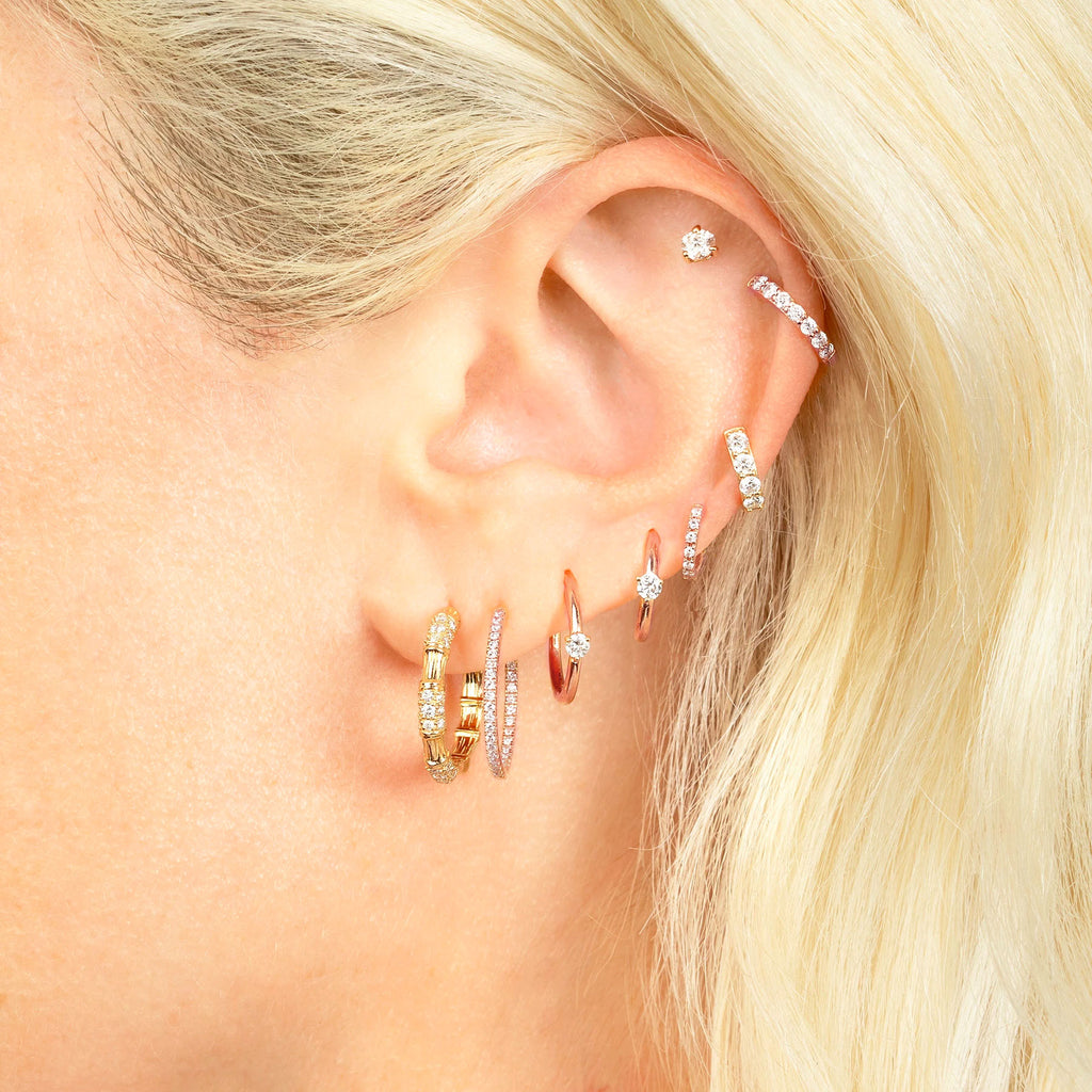 DIAMOND SMALL SEAMLESS HOOP EARRING
