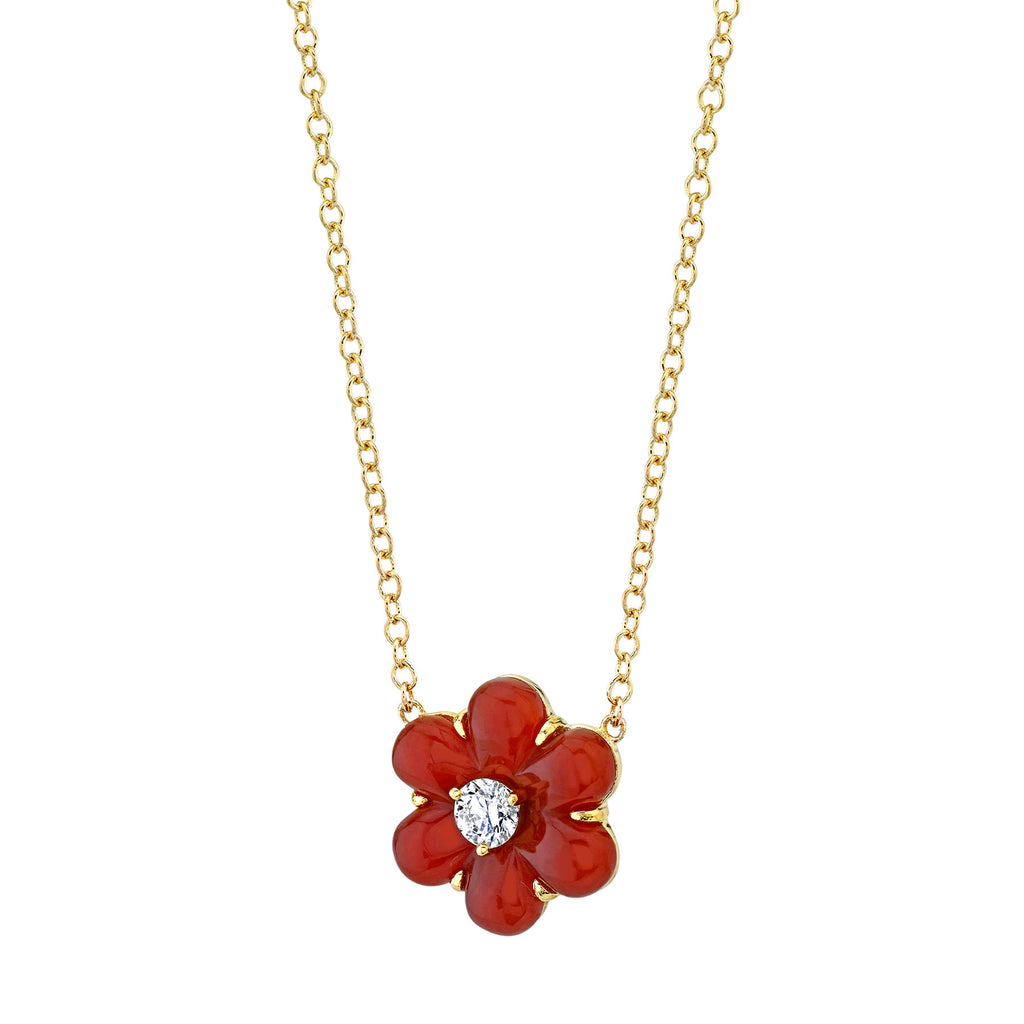 DIAMOND AND CARNELIAN CARVED FLOWER NECKLACE