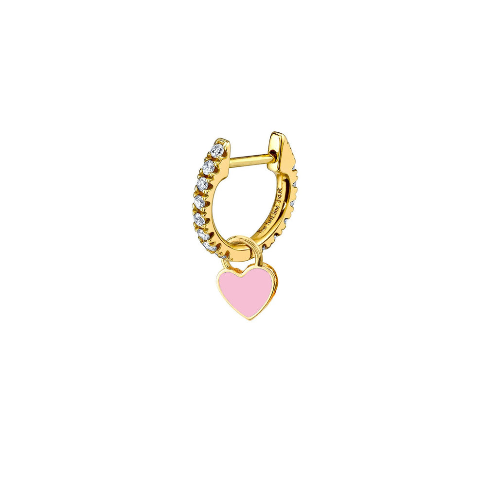 ROSE QUARTZ ENAMEL HEART HOOP EARRING CHARM