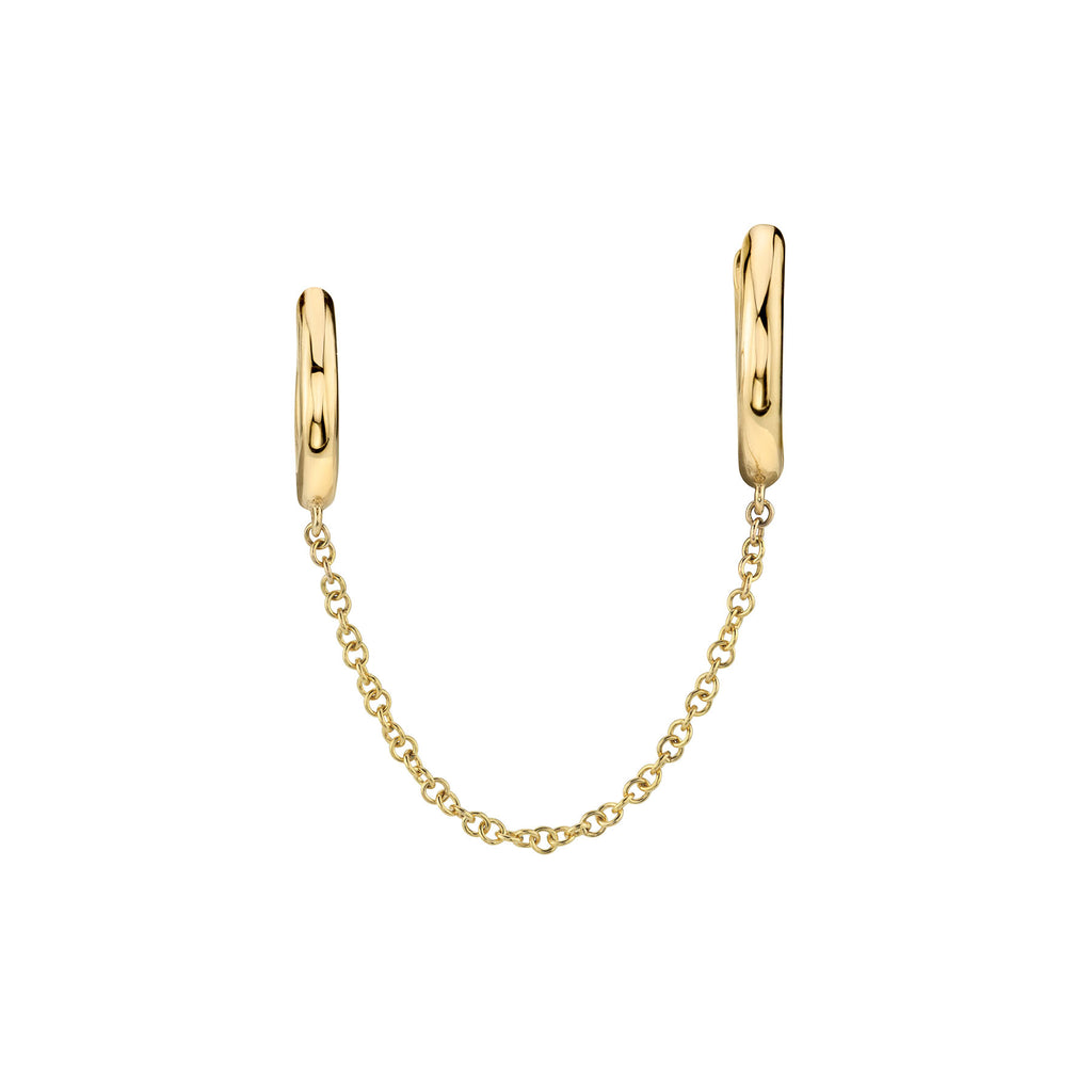 GOLD DOUBLE SLIM HOOP WITH CHAIN EARRING