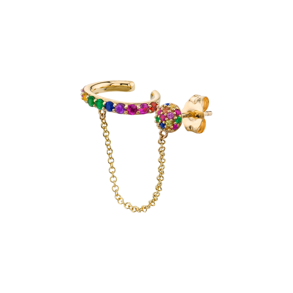 RAINBOW CONNECTED CUFF EARRING