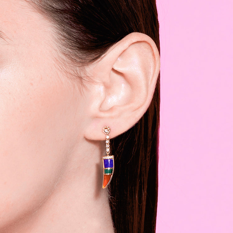 DIAMOND TRI-COLOR HORN EARRING
