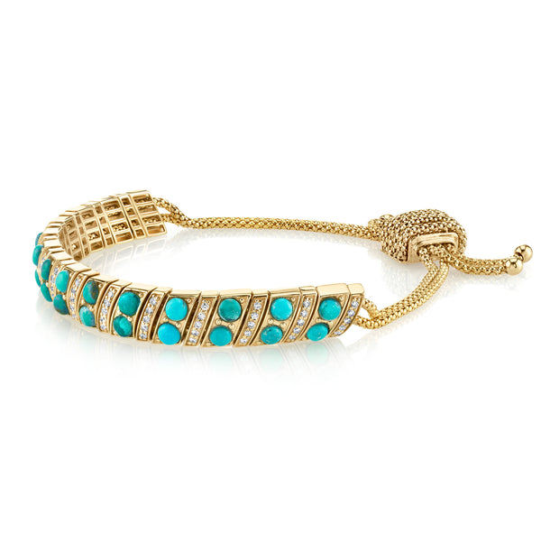 DIAMOND AND TURQUOISE SNAKE LINK BRACELET